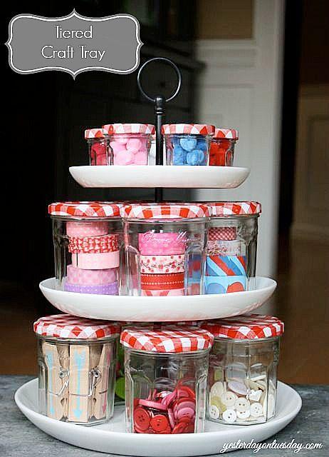 Organizing with jars - small jam jars organize craft supplies