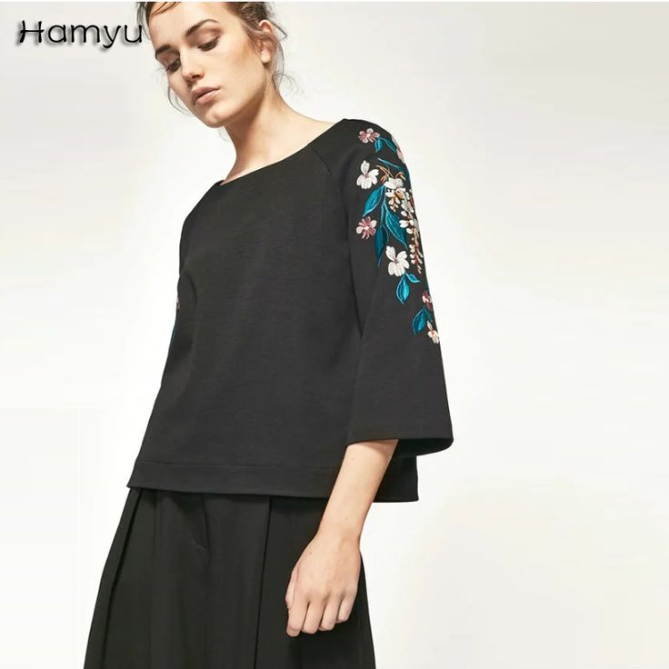 Cheap casual tops, Buy Quality fashion t-shirt directly from China t-shirt  fashion Suppliers: 2017 New Fashion Hot Sale Women Floral Embroidery  Long-sleeved ...