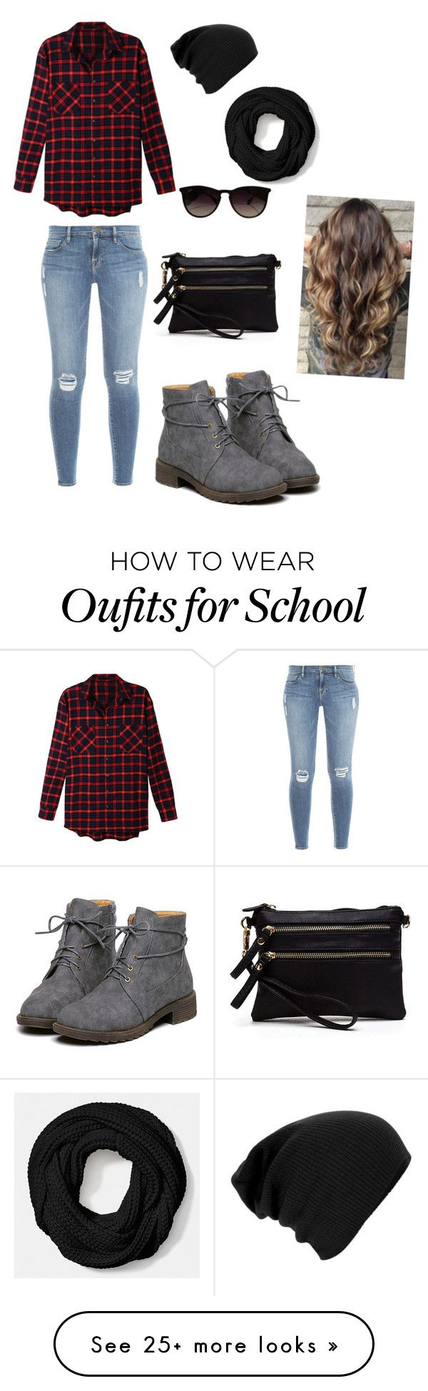 """School"" by bands-and-all-black on Polyvore featuring LE3NO, Ray-Ban, Coach and Frame Denim"