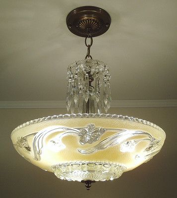 Restored 1930s Vintage Art Deco Glass Ceiling Light Fixture Chandelier