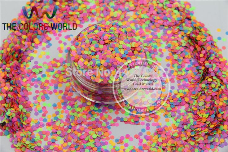 Mix Neon Colors Solvent Resistant  Dot Disco  Shape Glitter  for nail art polish and DIY decoration Size:2mm  1pack=50g #Affiliate