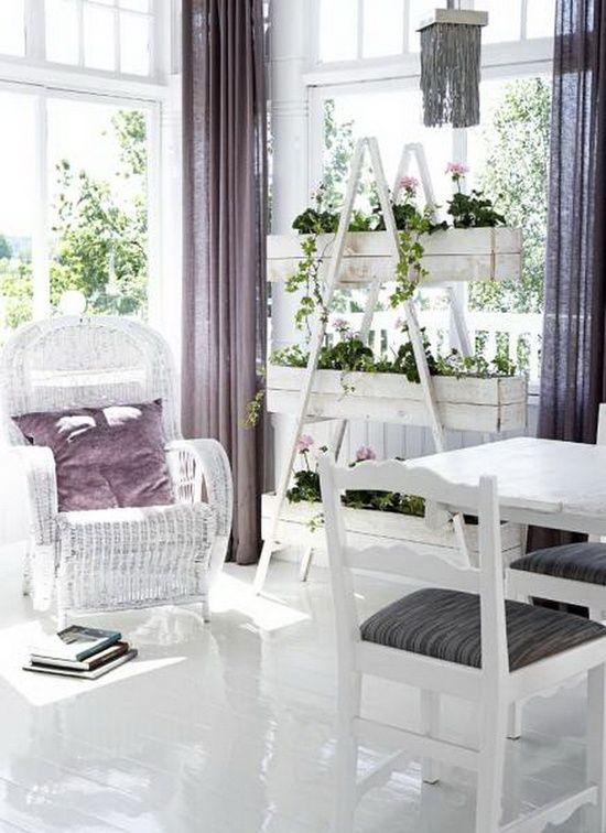 Blumenständer selber bauen leiter weiße einrichtung flieder gardinen