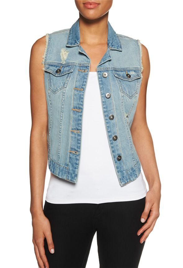 The Denim Vest is edgy and cool with cutoff sleeves and distressed