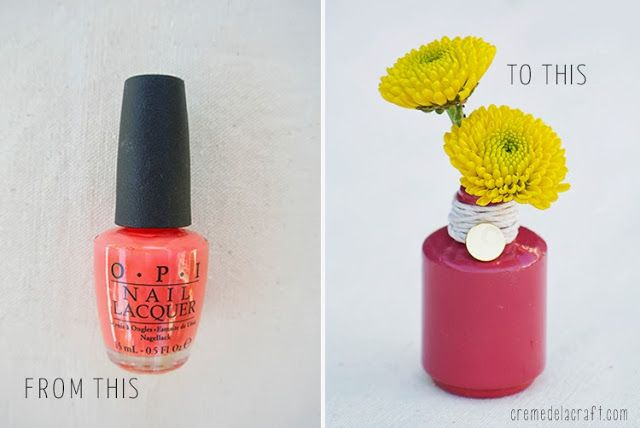 DIY: Flower Bud Vases from Nail Polish Bottles