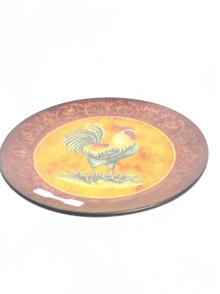 Red/Gold Rooster Plate