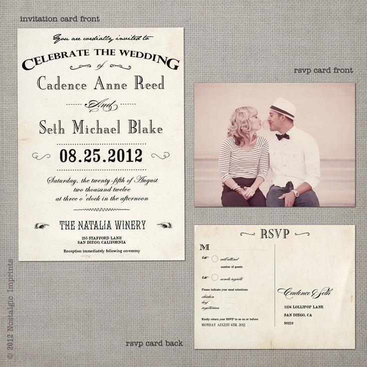 vintage wedding invataitons   Vintage Wedding Invitation the Cadence by NostalgicImprints