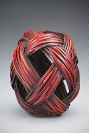 Jiro Yonezawa: 'DARUMA'. 2010  bamboo, cane, urushi lacquer...not glass but like the bamboo!
