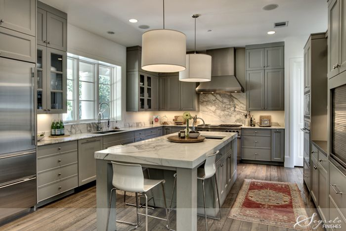 """Kitchen - Cabinets painted Martin Senour """"Polished Granite""""  Walls painted Benjamin Moore """"White Dove"""": Wall Colors, White Dove, Kitchens Colors, Cabinets Colors, Houses Ideas, Colors Palettes, Grey Kitchens, Gray Kitchens Cabinets, Easy Kitchens Updates"""