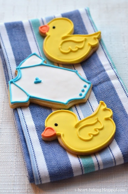 Baby shower duckie and onesie cookies from i-heart-baking blogspot