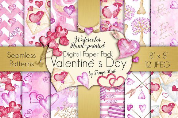 Valentine's Day Digital Paper Pack by Tanya Kart on @creativemarket
