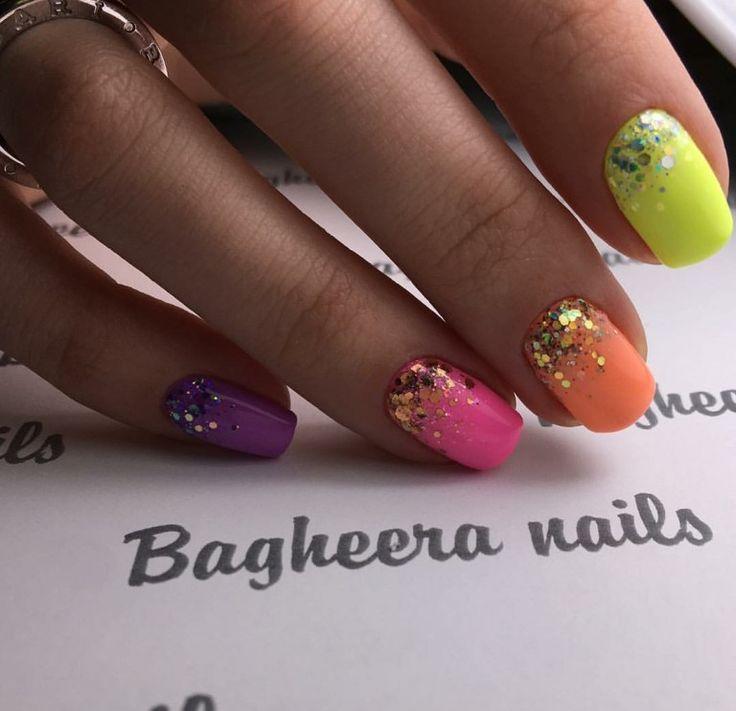 These are fun summer nails!!!  Beautiful nail colors, Cheerful nails, Colorful gel polish nails, Glitter nails, Multi-colored shellac, Summer colorful nails, Summer gel polish2016, Summer nail art