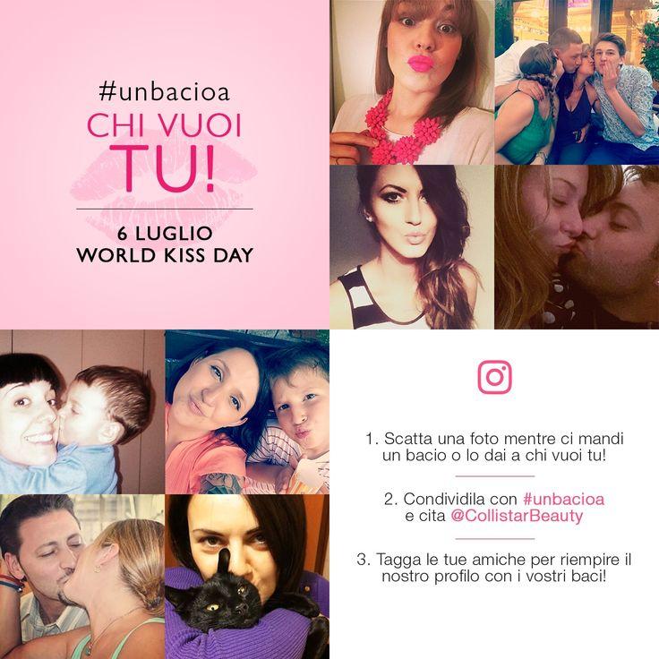 Indossa il tuo rossetto o gloss Collistar preferito e manda un bacio a chi vuoi tu! Scatta una foto e postala su Instagram con #unbacioa e tagga @Collistarbeauty per festeggiare insieme il World Kiss Day!