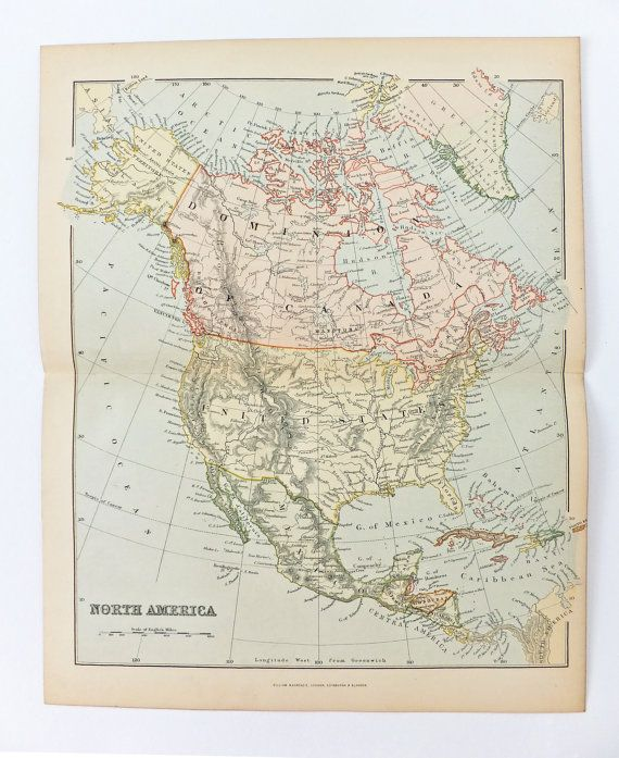 Antique Map of North America Vintage Map by PeonyandThistlePaper