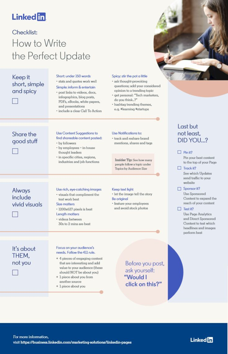 How to write the perfect linkedin update infographic in