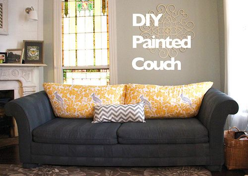 Biblical Homemaking: how to paint furniture upholstery :: a DIY sofa makeover Kelly - never thought about doing this but it's an option!