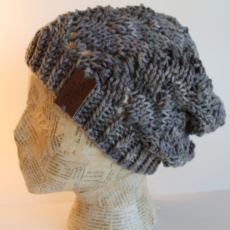 Hand Made Marble Grey Lacey Knitted Slouchy Boho Hat by FunkieFrocks on Etsy