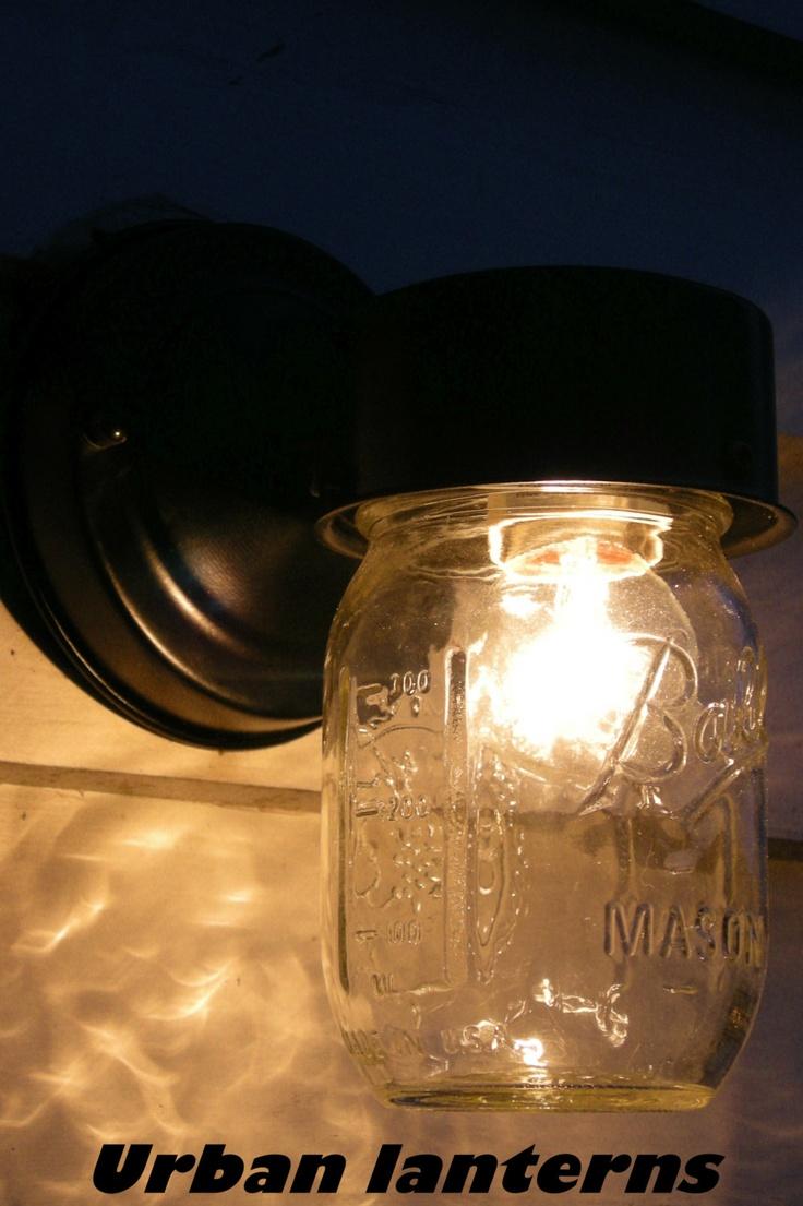 mason jar light fixture indoor or outdoor by urbanlanterns. Black Bedroom Furniture Sets. Home Design Ideas