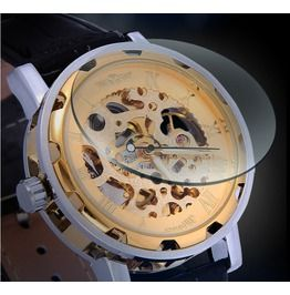 Steampunk Men's Gold Skull Leather Band Watch 3004