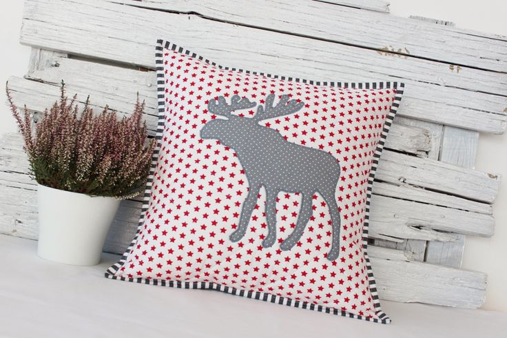 christmas pillow red & grey