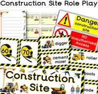 Construction Site Role Play with resources like Construction Site I.D. badges, signs, flashcards, number line, themed page borders and much more. For more of these Construction Site Role Play resources please check out our site. We have 1000s more educational printables available to download. We hope you enjoy our role play resources.