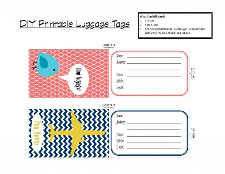 printable tags | With that in mind, I've created a set of two printable luggage tags ...