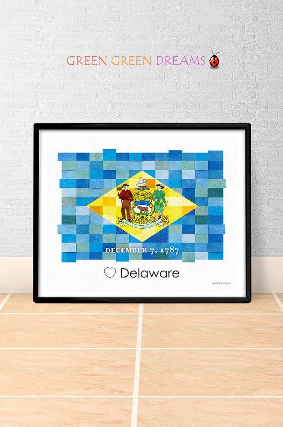Delaware Flag Print Poster Wall art Delaware US State flags Delaware DE printable download Home Decor Digital Print gift GreenGreenDreams