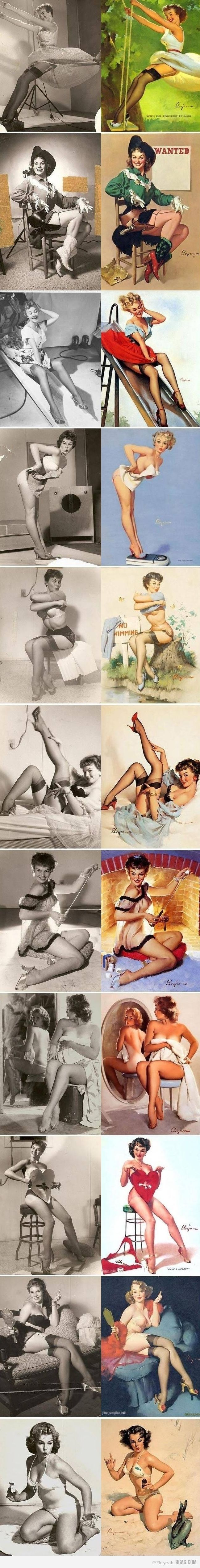 Interesting side by side of the actual models, and then the vintage pin-up illustration.
