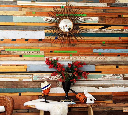 reclaimed wood wall: Pallets Wall, Idea, Recycled Woods, Color, Wall Treatments, Wooden Wall, Salvaged Woods, Reclaimed Woods Wall, Accent Wall