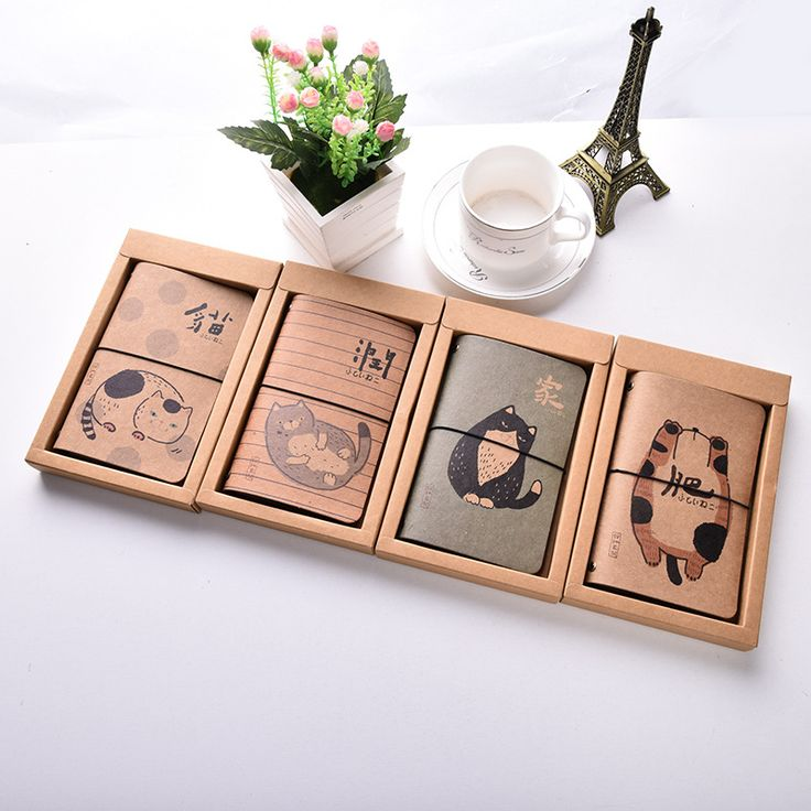 Cartoon Fat cat Kraft paper Cover Planner Notebook Diary Book Exercise Composition Binding Note Notepad Kids Gift Stationery