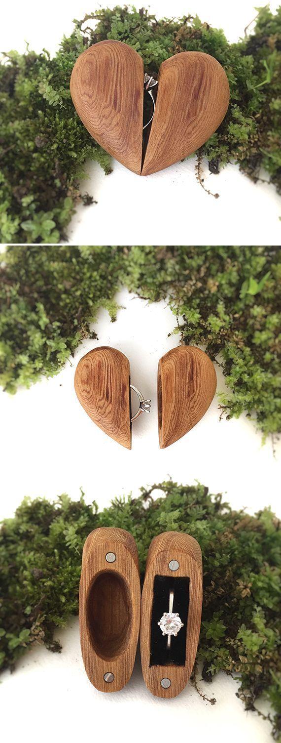 Hergestellt in den USA! Verlobungsring Box, Vorschlag Ring Box, Holz Ring Box. Mit Solarenerg…