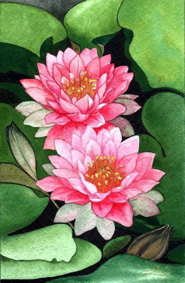 Peaceful Lotus Flower Painting Ideas (9)
