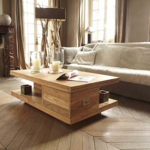 Table de salon en teck naturel. Info : 2 niches (H 21 x L 72 x P 33,5 cm) // 2 tiroirs (H 18 x L 60 x P 32 cm - glissière bois) Informations produit : - Matière : Teck ...