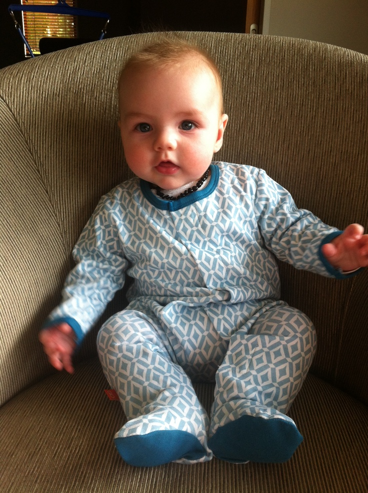 """Here is gorgeously cute baby Zak, enjoying his new pj's!  Thank you so much to Mum Jo for sending in this pic of Zak sporting our new Magnificent Baby Morocco Footie!  … and here's some more fabulous feedback! """"Mum and Dad are loving the magnets! Thanks for such great service and a wonderful product!"""""""
