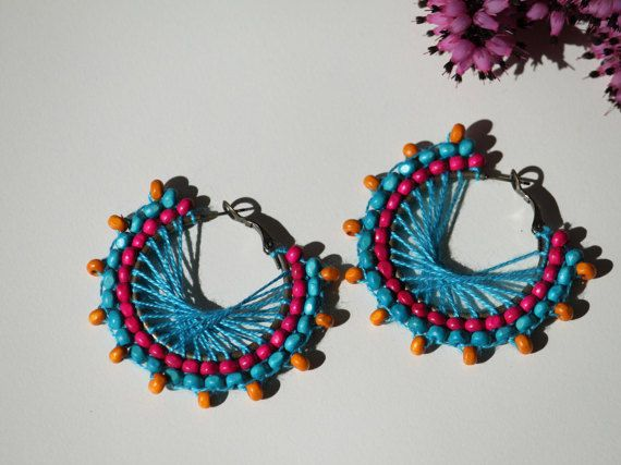 Turquoise pink orange wooden beaded earring.  by DeaJewelryStore