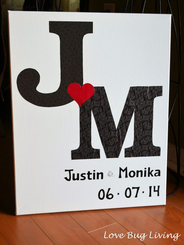 DIY Wedding Initial Canvas.  Great wedding or bridal shower gift to make for the newlyweds to hang in their house!