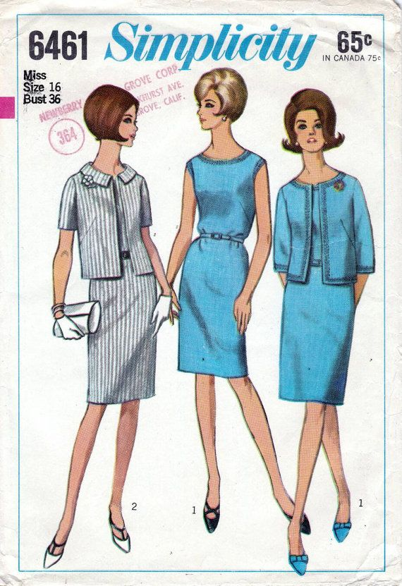 60s Simplicity sewing pattern 6461, dress and jacket sewing pattern, bust  36 inches