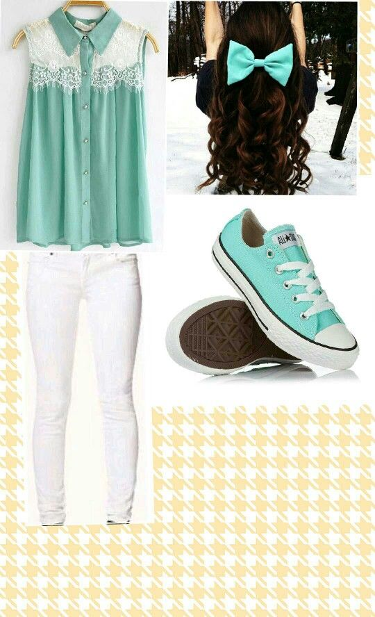 """First day of school outfit"" turquoise shirt with lace on the shoulders,matching bow in hair, and some converse. LOVE IT!"