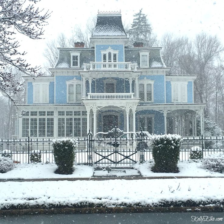 Beautiful blue Victorian house with amazing curb appeal kellyelko.com