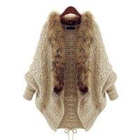 Wish | 2016 Winter Autumn New Women Knitted Cardigan Cape Shawl Bat Shirt Sweater Coat (Color: Khaki)