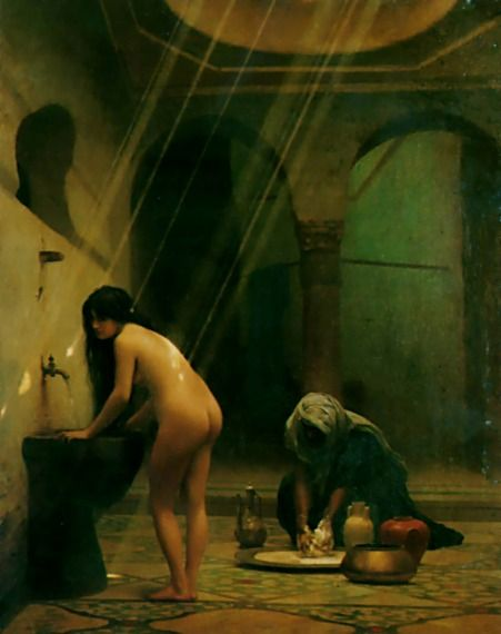 Jean-Léon Gérôme >> Un Bain Maure - Femme Turque au Bain, No.2  |  (huile, reproduction, copie, tableau, oeuvre, peinture).