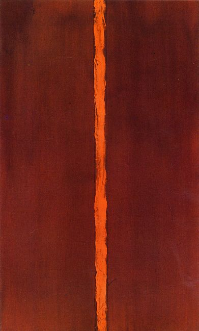 "Barnett Newman Onement I (1948) - Google meklēšana Onement I (1948) Newman saw Onement I as a breakthrough in his work. It features the first full incarnation of what he later called a ""zip,"" a vertical band of color. This motif would play a central role in many of his subsequent paintings. The painting's title is an archaic derivation of the word ""atonement,"" meaning, ""the state of being made into one."" For Newman, this unevenly painted zip on a flat field of color does not divide the…"