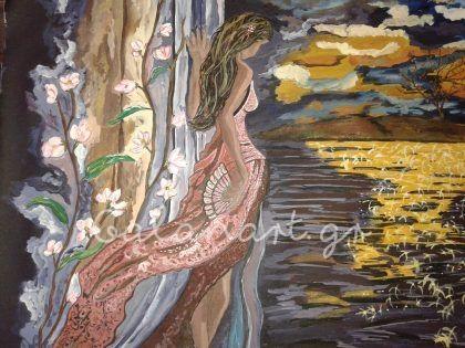 Ζωγραφική :ακρυλικό σε καμβά  Διαστάσεις: 60×45 cm  Τίτλος: Ονειροπολώντας  Κωδ: 216  Agathi Galan