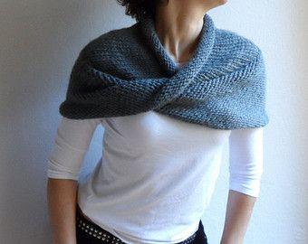 Hand Knit Chunky Loop Scarf Cape Hood Cowl Shawl by bysweetmom