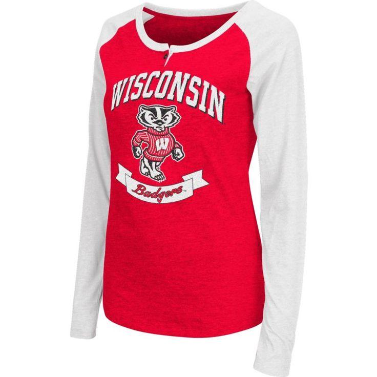Colosseum Athletics Women's Wisconsin Badgers Red Healy Long Sleeve Shirt, Size: Medium, Team