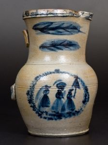 Exceptional D. G. Thompson, Morgantown, WV, Stoneware Pitcher with Elaborate People Decoration