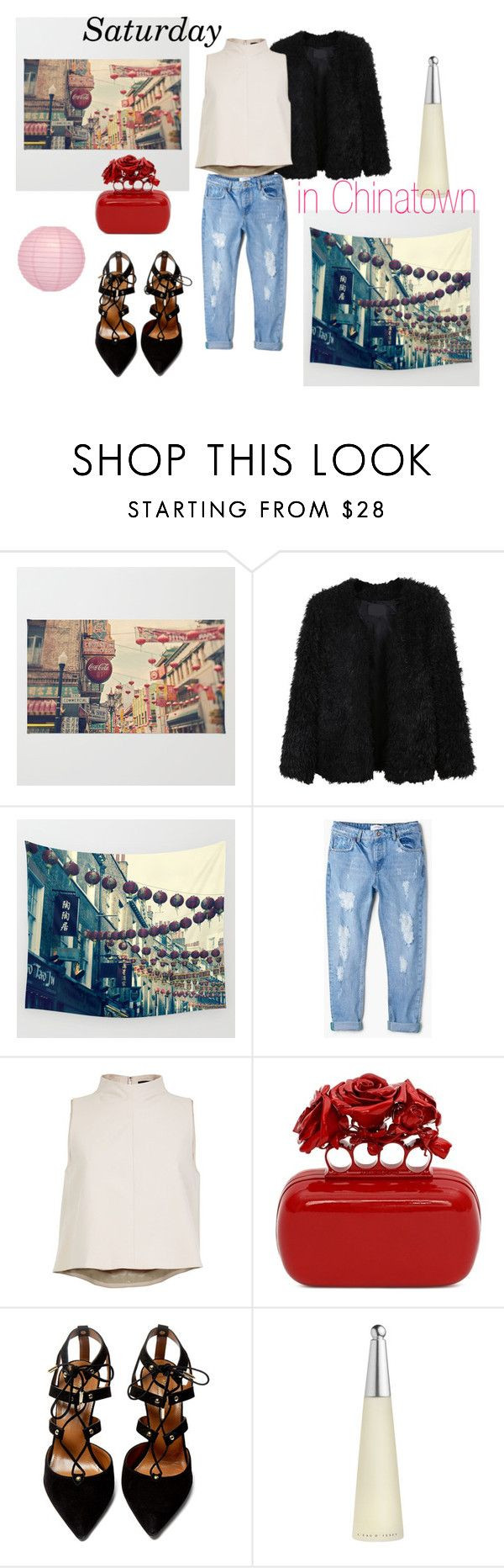 #chinatown by slounis on Polyvore featuring moda, TIBI, LE3NO, MANGO, Aquazzura, Alexander McQueen, Issey Miyake and Cultural Intrigue
