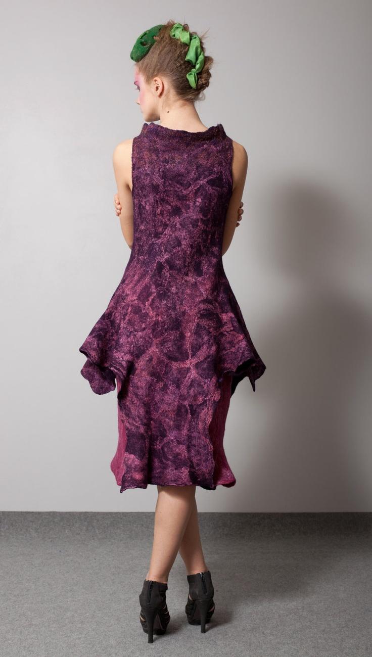 "Nuno felt dress ""Lavandula mallette""."