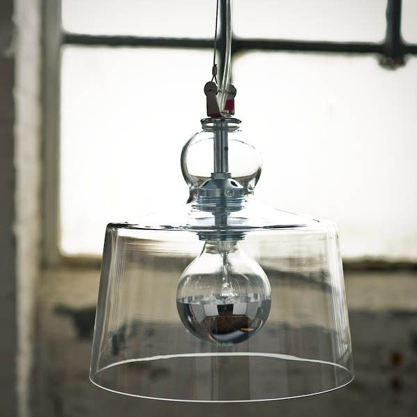 Designed by Michele de Lucchi and made of Murano glass, the Aquatinta Suspension Lamp in clear glass is $730   Remodelista