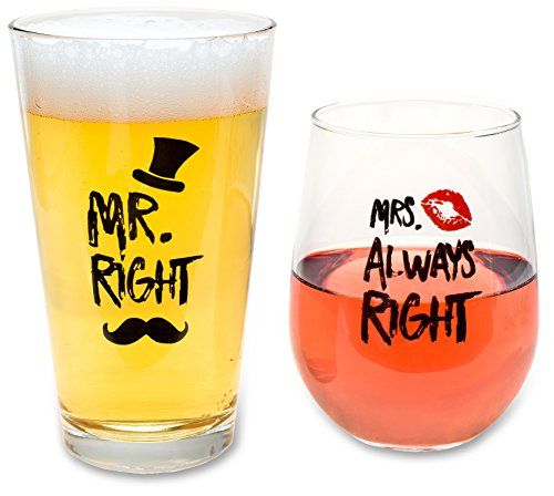 Funny Wedding Gifts - Mr. Right and Mrs. Always Right Novelty Wine Glass & Beer Glass Combo - Engagement Gift for Couples - Cool Kitchen Gifts