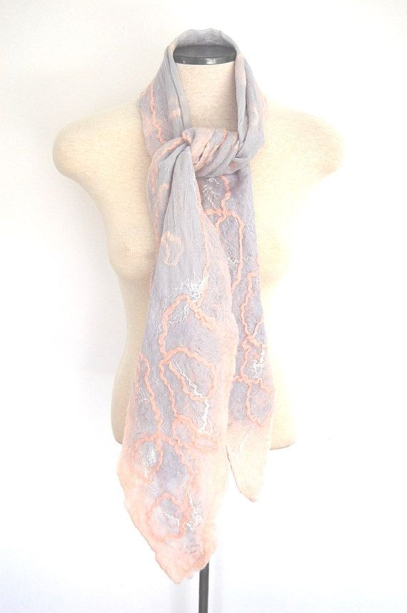 Women's Grey and Pink Silk and Wool Scarf by LocallySewnTextiles